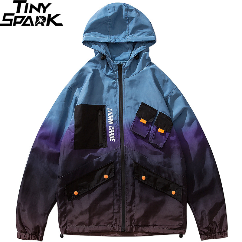 Men Hip Hop Jacket Windbreaker Streetwear Retro Harajuku Gradient Color Block Jacket Coat 2019 Pocket Zip Track Jacket Hoodie