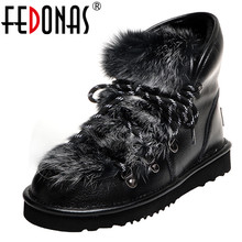 Platform Boots FEDONAS Women Female Big-Size Winter Genuine-Leather Casual Sweet Ankle