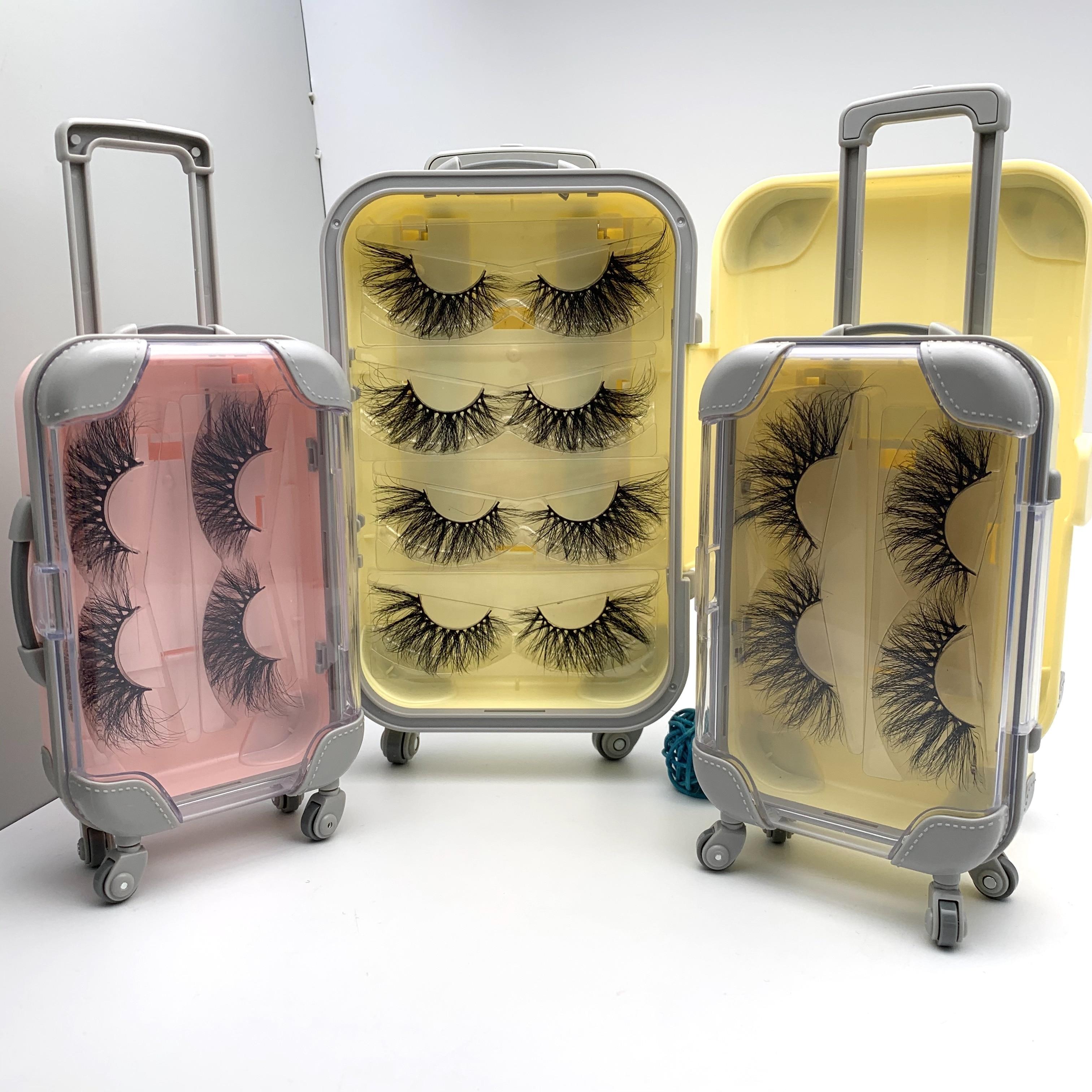 25mm 100% Siberian Mink Lash 2 Pairs Eyelash Packaging Suitcase 3d Mink Eyelash Custom Luggage Case Packaging Box