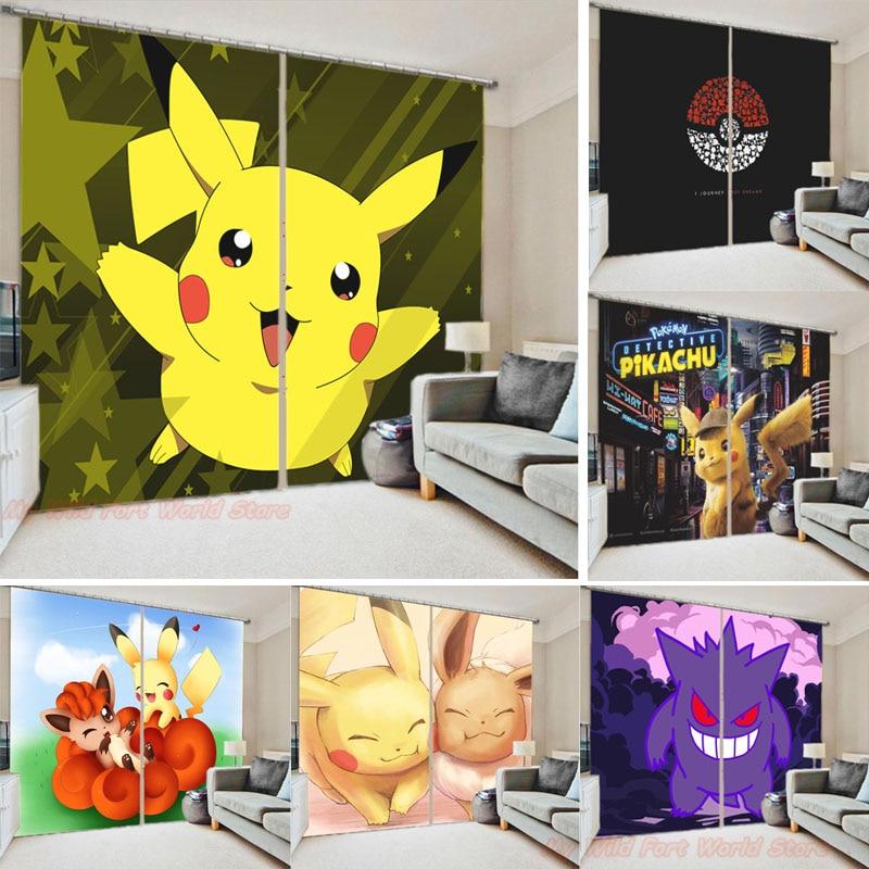 Занавеска на окно «Покемон», занавеска в виде Пикачу для детской спальни, занавеска с 3D рисунком из аниме, занавеска для гостиной, офиса, дом...