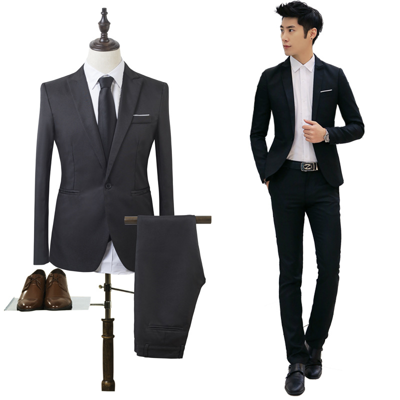 2019 Spring-Style One-Button Slim Fit Business MEN'S Wear Solid Color Youth Groom Best Man Suit Formal Dress Set