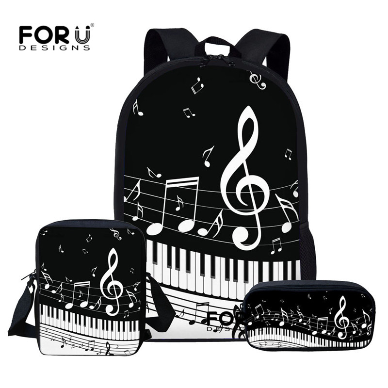 FORUDESIGNS School-Bags-Set Backpacks Piano Music Kids Children Girls Boys Teen Note