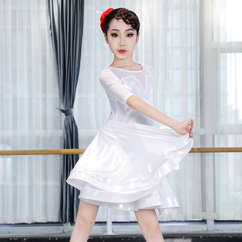 New Latin Dance Dress Female Children'S Professional Dance Clothes Stage White Clothing Girls Dance Competition Dress Kids