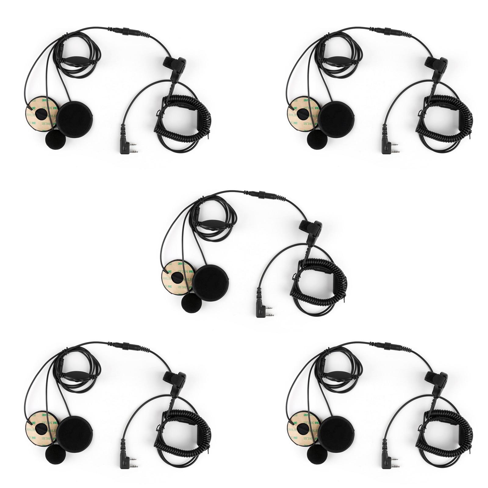 Artudatech 5Pcs 2 Pin Motorcycle Helmet Headset Adjustable Volume PTT For Kenwood TK3107 Radio