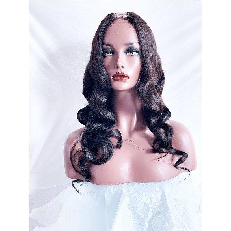 Brazilian Body Wave Human Hair U Part Wigs Wigs 1x4 Middle Part For Black Women Long  24 Inch Wave Wig Remy Hair U Wig