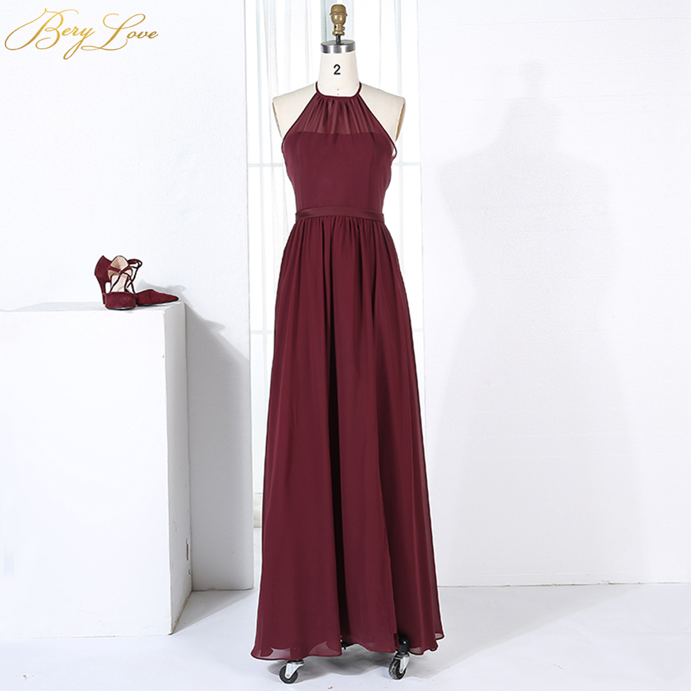 Sexy Burgundy Bridesmaid Dress 2020 High Slit Long Halter Backless Prom Gown Formal Dress Plus Prom Long Dress Robe De Soiree