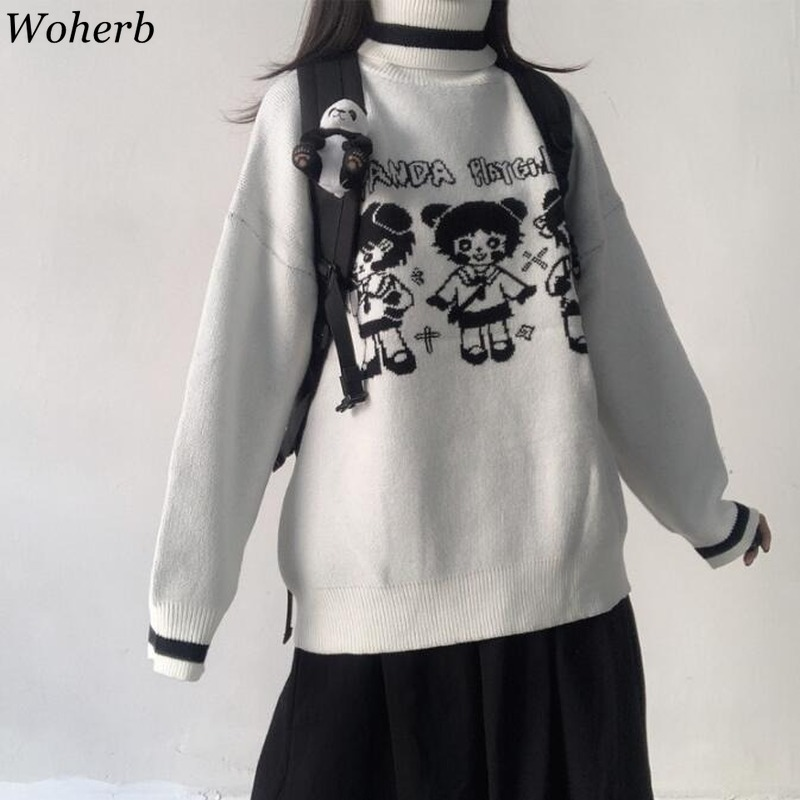 Woherb Cartoon Girl Sweater Female Korean Harajuku Women Pullover Japanese Kawaii Cute Ulzzang Clothing Female Sweet Jumper