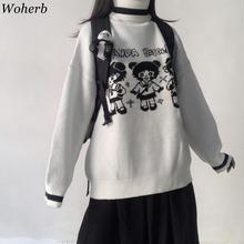 Woherb Cartoon dziewczyna sweter kobiet koreański Harajuku kobiet sweter japoński Kawaii słodkie Ulzzang odzież kobiet słodki sweter tanie tanio COTTON Poliester Stretch Spandex Akrylowe CN (pochodzenie) Wiosna jesień Acrylic Komputery dzianiny REGULAR Golfem Osób w wieku 18-35 lat