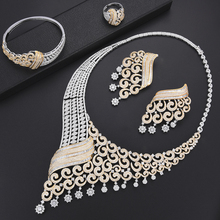 GODKI Luxe Klimmer Bloem Vrouwen Nigeriaanse Bridal Naija Bruid Zirconia Ketting Dubai 4 STUKS Sieraden Set Sieraden Verslaving