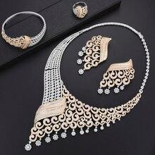 GODKI luxe grimpeur fleur femmes nigérian mariée Naija mariée cubique zircone collier Dubai 4 pièces bijoux ensemble bijoux dépendance