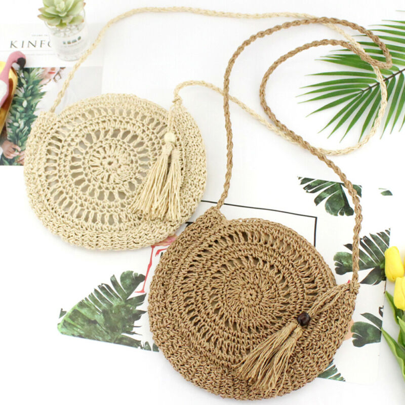 Bohemia Style Bags Women Straw Bag Retro Rattan Handbag Woven Summer Beach Shoulder Bags Round Tote Round Diameter 28x25CM