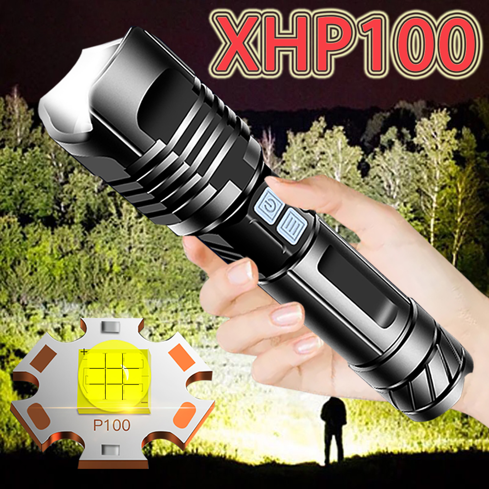 NEW XHP100 powerful flashlight torch xhp90 usb Rechargeable tactical hunting flashlight 18650 flash light xhp70 led lantern camp