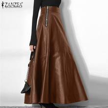 Femmes élégant OL solide jupes ZANZEA bureau dame fermeture éclair longue jupe élégante partie une ligne bas mode PU cuir jupe surdimensionné