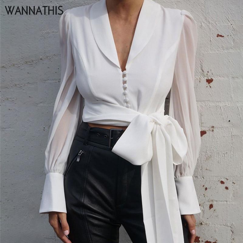 WannaThis Deep V-Neck Blouse Women Bow Bandage Spliced Long Sleeve Chiffon Elegant Lady White Slim Button Autumn Women Cropde