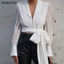 WannaThis Deep V-Neck Blouse Women Bow Bandage Spliced Long Sleeve Chiffon Elegant Lady White Slim Button Autumn Cropde