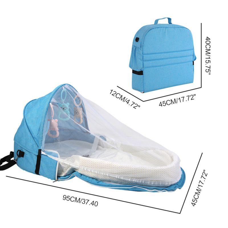 Переносная кровать с игрушками для малышей, складная детская кровать для путешествий, защита от солнца, сетка от комаров, дышащая корзина для сна для младенцев - Цвет: Белый