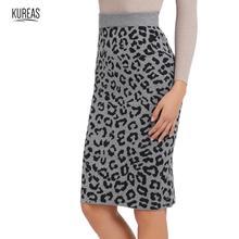 Kureas Women Knitted Skirt Fashion Leopard Print Short Skirts Knee Length Slim Fit Back Split Winter Autumn Clothes