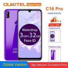 OUKITEL C16 Pro 5.71'' Android 9.0 19:9 MT6761P 3GB 32GB Smartphone Fingerprint Face ID Waterdrop Screen 5V/1A 4G Mobile Phone(China)