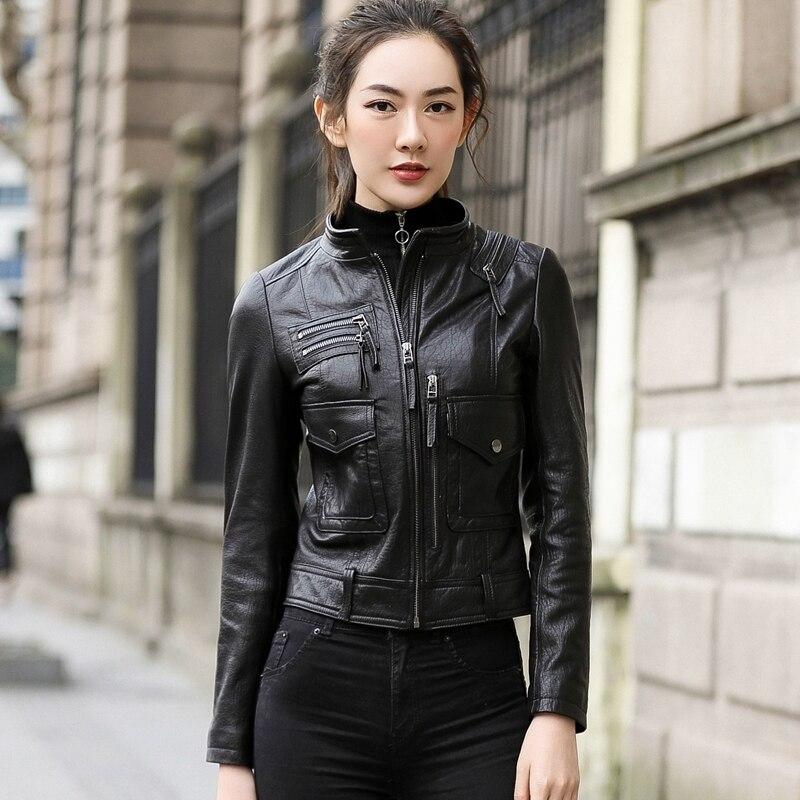 Jacket Leather Genuine Autumn Jacket Women 100% Real Sheepskin Coat Female Streetwear Bomber Jackets Chaqueta Mujer MY S