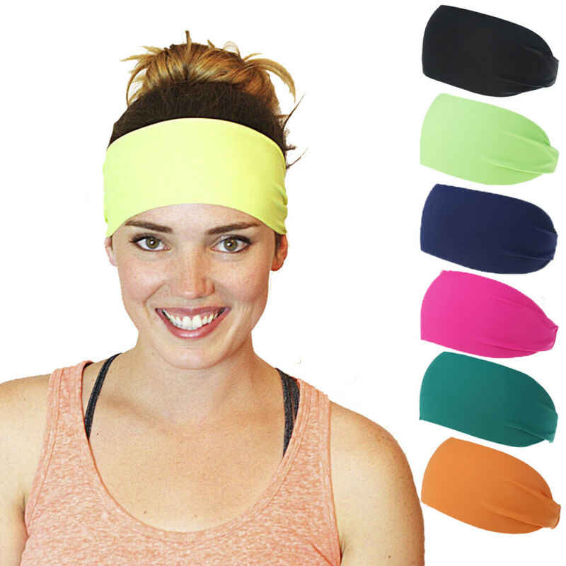 Men Wide Headband Sweatband Stretch Sweat Elastic Sport Yoga Run Solid Hairband