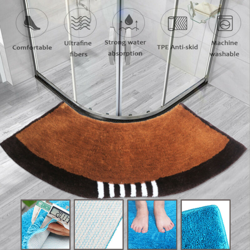 1PC Fluffy Rugs Anti-Skid Shaggy Area Rug Dining Room Fan-shaped Carpet Floor Mat Bedroom Home 45*143CM