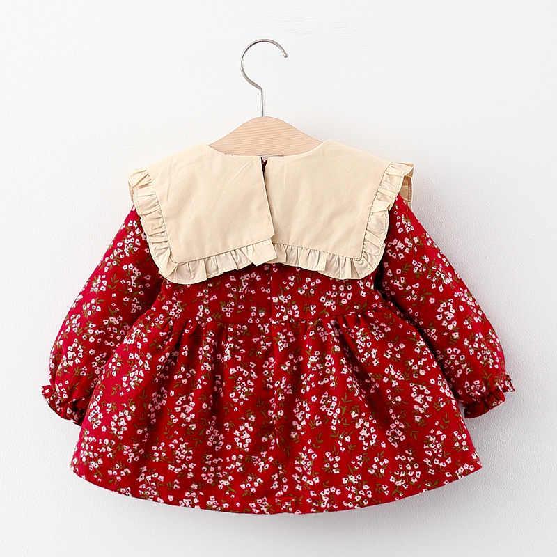 2020 秋ベビードレスラペル襟弓甘い古着王女花柄vestidos衣装パーティー