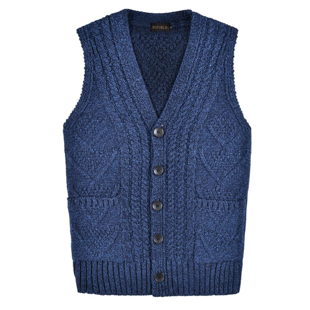 BOTVELA Mens Knitted Ribbed Knit Casual Fit Sweater Vest Cable Aran Waistcoat V-Neck 204