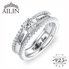 סיטונאי Custom אירוסין טבעת טבעת הבטחתה גברת אבן המזל & שם טבעות סט עם מעוקב Zirconia טבעת גודל 6 12