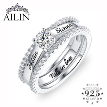 Wholesale Custom Engagement Ring Promise Ring For Her Lady Birthstone&Name Rings Set With Cubic Zirconia Ring Size 6 12