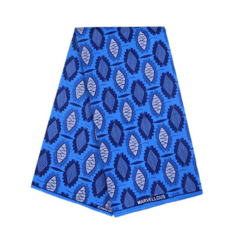 New Wax Fabric Fashion Design African Ankara Real Veritable Guarantee Dutch Wax Blue Printed Fabric 6Yards\set