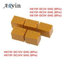 5 шт. катушка DPDT 8 Pin 2NO 2NC мини Мощность реле PCB Тип HK19F-DC5V-SHG HK19F-DC9V-SHG HK19F-DC12V-SHG HK19F-DC24V-SHG DC3V