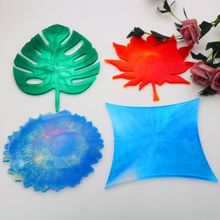 4 Shapes Leaves Round Coaster Silicone Resin Mold Cup Mat Mould Jewelry Making sieraden