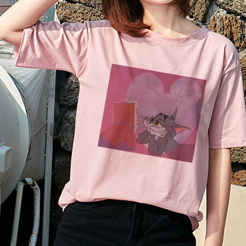 ואן גוך שמן ציור גאה חתול עכבר PrintT חולצה נשים 2020 חדש אופנה Harajuku קצר שרוול O-צוואר לבן מזדמן רופף חולצות