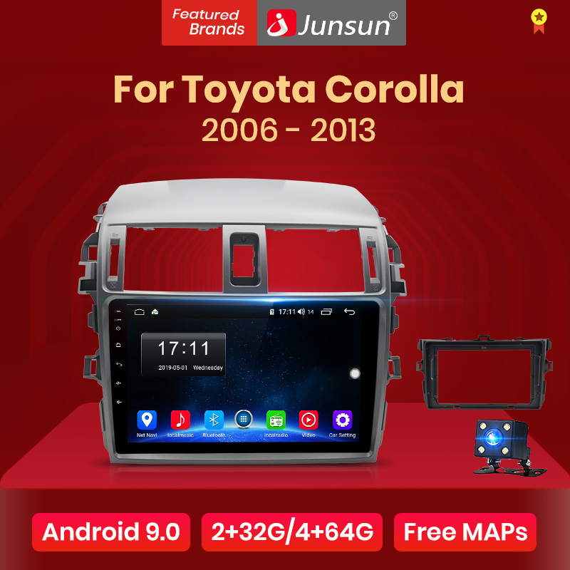 Junsun V1 2G+128G Android 9.0 DSP For Toyota Corolla 2006-2013 Car Radio Multimedia Video Player Navigation GPS RDS 2 din dvd(China)