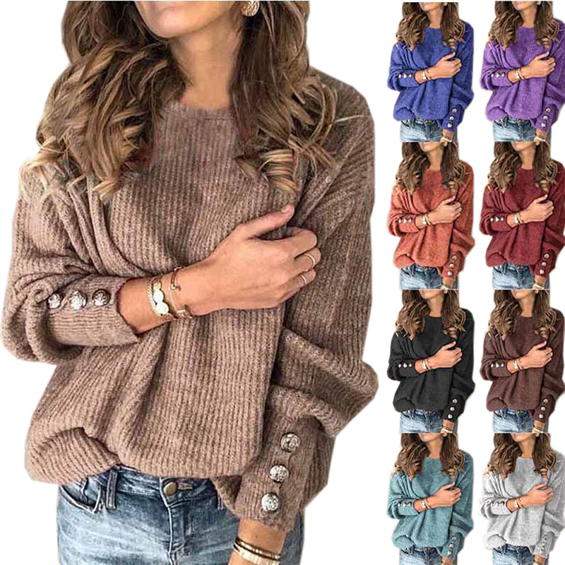 2020 New Spring Women O-Neck Long Sleeve Solid Color Button Sweater Female Fashion Casual Comfortable Loose Plus Size Tops QX117