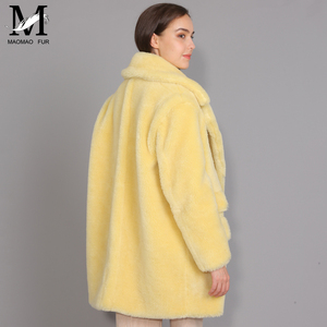 Image 3 - Maomaomaofur lã real casaco de pelúcia feminino nova moda casaco de pele de ovelha real feminino quente oversize inverno outerwear lã roupas