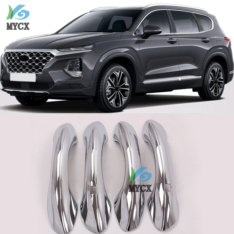 Car Accessories For <font><b>Hyundai</b></font> <font><b>Santafe</b></font> 2019 ABS Chrome Carbon Fiber <font><b>Door</b></font> <font><b>Handle</b></font> Cover Trims Car Decoration Exterior Accessories image