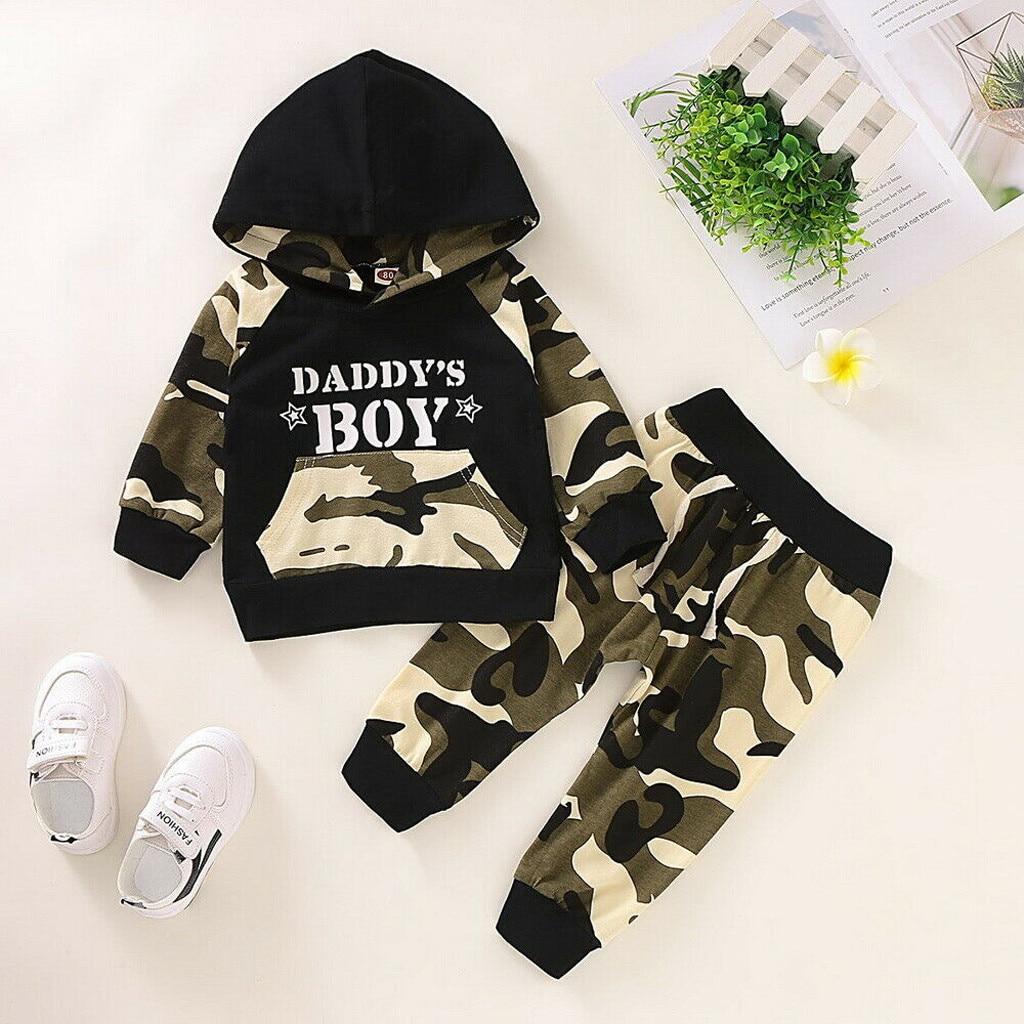 Комплекты одежды для новорожденных, футболка с капюшоном и надписью для маленьких мальчиков топы + камуфляжные штаны, комплект одежды, подарки на Рождество|Комплекты одежды|   | АлиЭкспресс