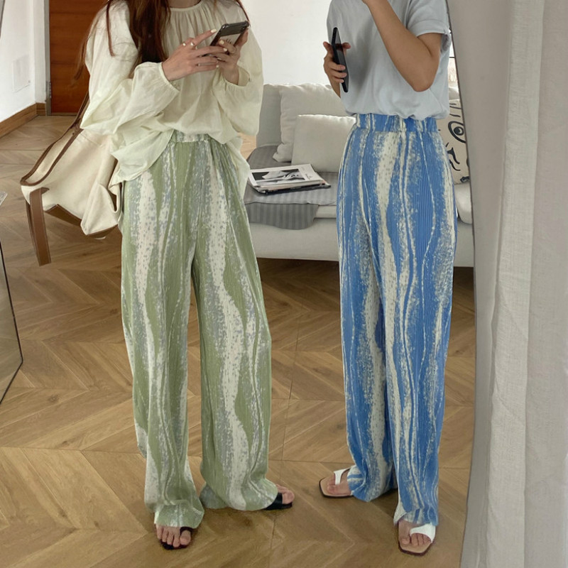 Women Summer Elastic High Waist Color Bar Long Wide Leg Pants Pleated Casual Loose Mopping Trousers