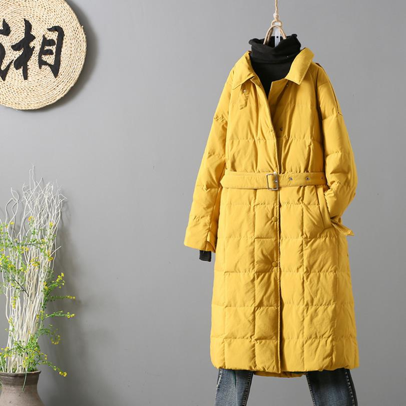 Winter Thicker Warm Over The Knee Was Thin Duck Down Coats Female Warm Duck Down Outerwear Jackets With Belt F307