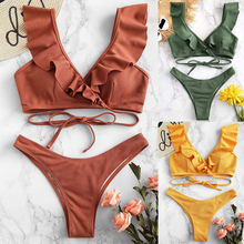 Swimwear Bikini-Set Biquini Push-Up Maillot-De-Bain Ruffle Sexy Brazilian Beach Women