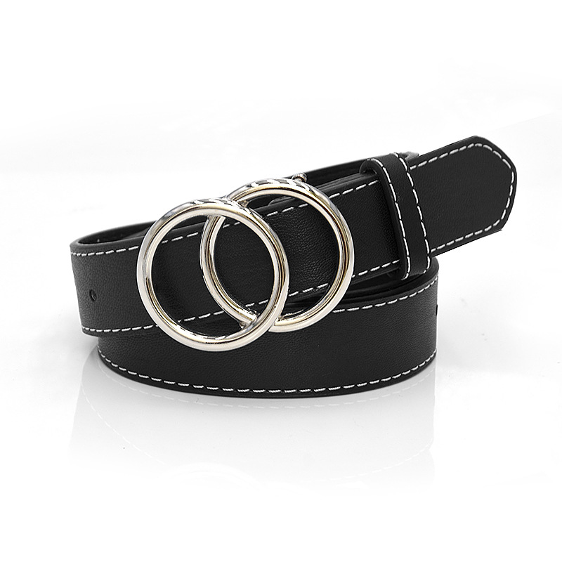 Black Leather Belts For Women Luxury Brand Silver Gold Buckle Woman Belt Fashion Ceinture Femme Jeans Waistband Cinto Feminino
