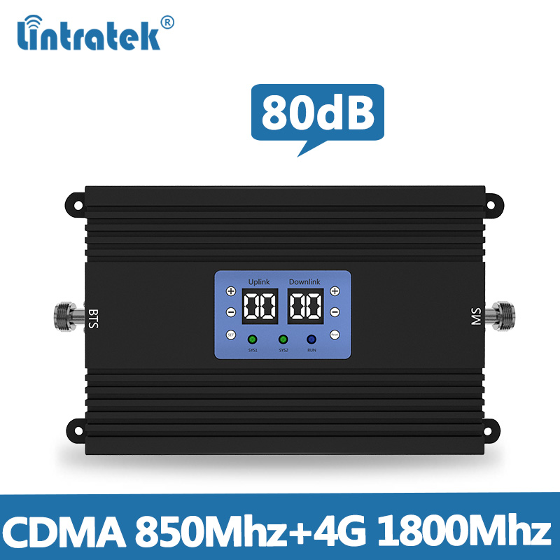 Lintretek 80dB Repeater CDMA 850Mhz 4G Signal Booster 1800Mhz AGC MGC 25dBm Dual Band Amplifier 2G 3G 4G Repeater KW25A-CD