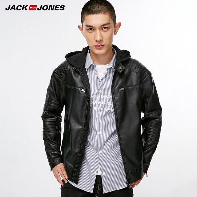 Chaqueta de cuero PU para motorista de prendas de vestir de hombre Jack Jones