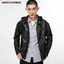 Jack Jones erkek Biker dış giyim PU deri ceket