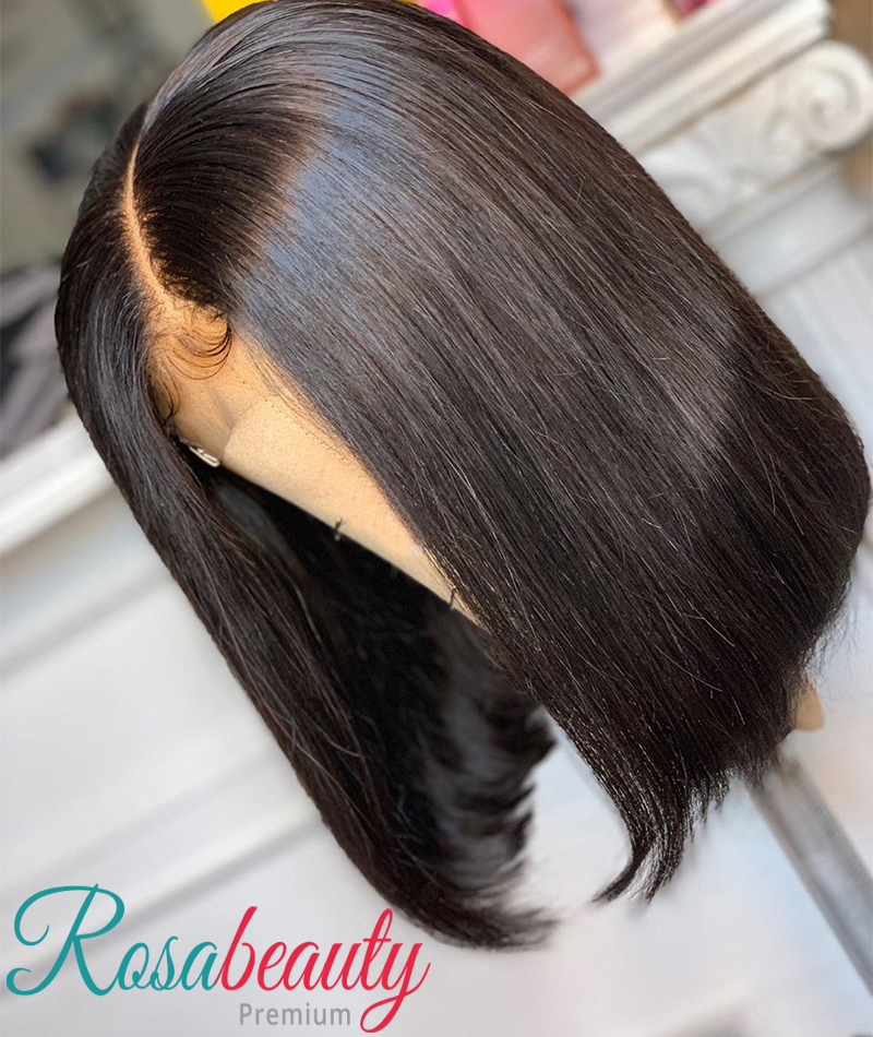 OneCut Hair 8-16 Short Bob13x4 Remy Wig Brazilian Straight Lace Front Bob Wigs  Pre Plucked With Baby Hair Frontal Wigs