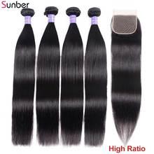 Sunber волосы малайзийские прямые волосы 3 пряди с застежкой натуральный цвет высокое соотношение волосы Remy плетеные пряди кружевной застежкой
