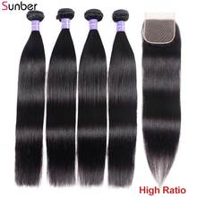 Sunber Hair Malaysian Hair Straight 3 Bundles With Closure Natural Color High Ratio Remy Hair Weave Bundles With Lace Closure