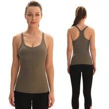 Racerback Yoga Vest Women Padded Yoga Shirt Sleeveless Sport Top Elastic Workout Shirt Tank Top Sportswear for Fitness Clothing