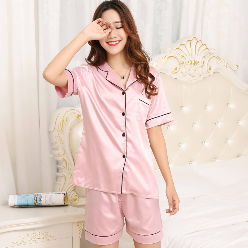 Summer WOMEN'S Short Sleeved Viscose Pajamas Plus-sized Large Size Sexy Silk Two-Piece Set Tracksuit Korean-style